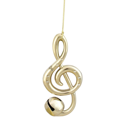 """4.75"""" Shiny Gold Treble Clef Musical Note Jingle Bell Christmas Ornament - IMAGE 1"""