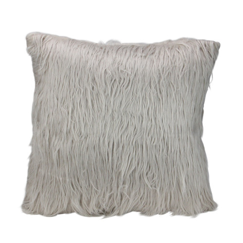"""17"""" Beige and Taupe Faux Fur Square Throw Pillow with Suede Backing - IMAGE 1"""