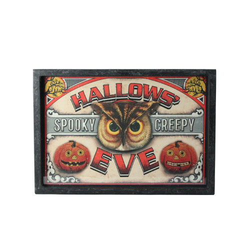 """Black and Red """"HALLOWS' EVE"""" Framed Rectangular Wall Art 11"""" x 16"""" - IMAGE 1"""