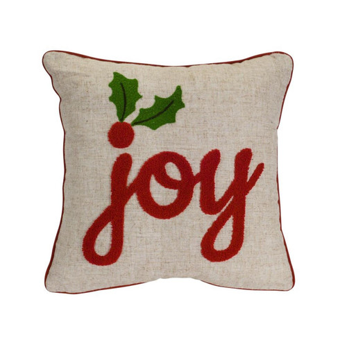 """Set of 2 Beige and Red """"Joy"""" Embroidered Square Christmas Throw Pillow 15.5"""" - IMAGE 1"""
