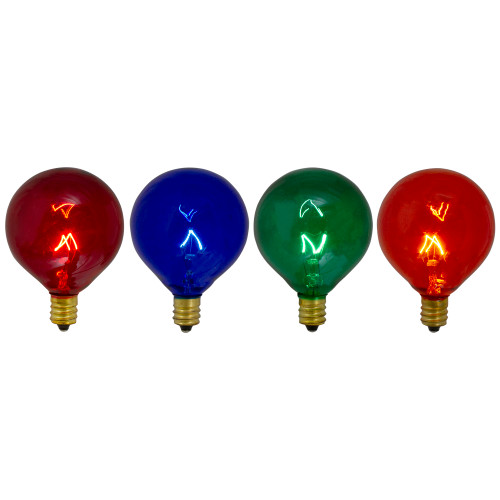 Pack of 4 Transparent Multi-Color G50 Globe Christmas Replacement Bulbs - IMAGE 1