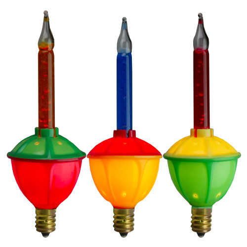 Pack of 3 Multi-Color C7 Retro Bubble Light Replacement Christmas Bulbs - IMAGE 1