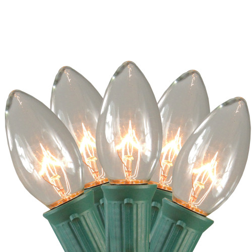 Set of 15 Clear Lighted Mighty Light C9 Shape Christmas Pathway Markers- Green Wire - IMAGE 1