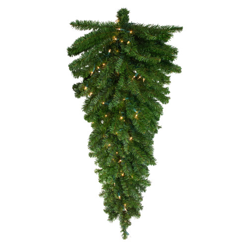 "42"" Pre-Lit Canadian Pine Artificial Christmas Teardrop Door Swag - Clear Lights - IMAGE 1"