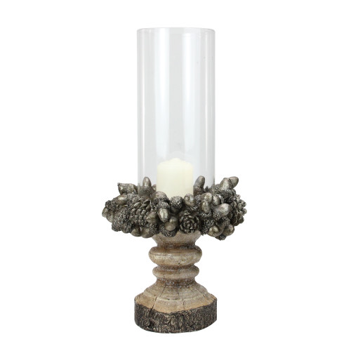 "13"" Rustic Acorn and Pinecone Tree Pillar Candle Holder with Glass Case - IMAGE 1"
