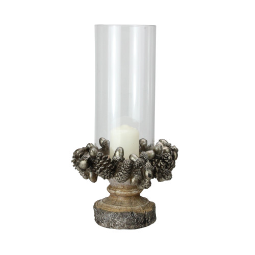 "11"" Rustic Acorn and Pinecone Tree Pillar Candle Holder with Glass Case - IMAGE 1"