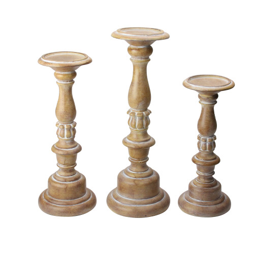"""Set of 3 Assorted Size Rustic White Dusted Pillar candle Holders 15""""-11"""" - IMAGE 1"""