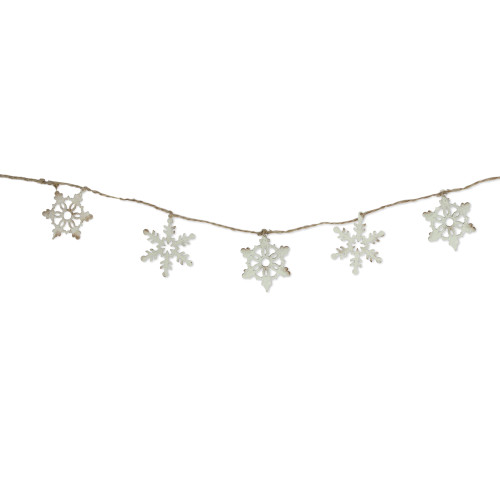 """5' x 3"""" Ivory and Brown Snowflake Artificial Christmas Garland - Unlit - IMAGE 1"""