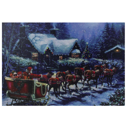 """LED Lighted Santa Claus in Sleigh Christmas Canvas Wall Art 15.75"""" x 23.5"""" - IMAGE 1"""