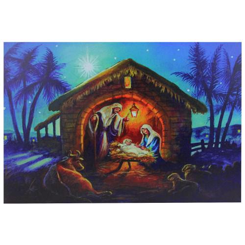 "LED Fiber Optic Lighted Nativity Scene Christmas Wall Art 15.75"" x 23.5"" - IMAGE 1"