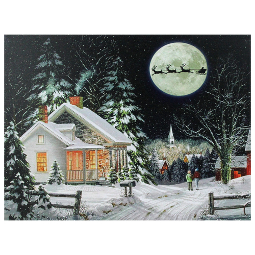 "LED  Fiber Optic Lighted Santa Claus Coming to Town Christmas Wall Art 15.75"" x 12"" - IMAGE 1"