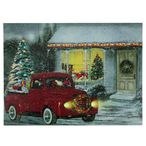 "LED Fiber Optic Retro Red Truck Christmas Wall Art 11.75"" x 15.75"" - IMAGE 1"