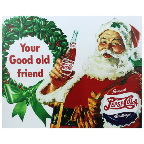 "15.75"" x 19.75"" Red and Green LED Back Lit Santa Claus Pepsi Christmas Wall Art - IMAGE 1"
