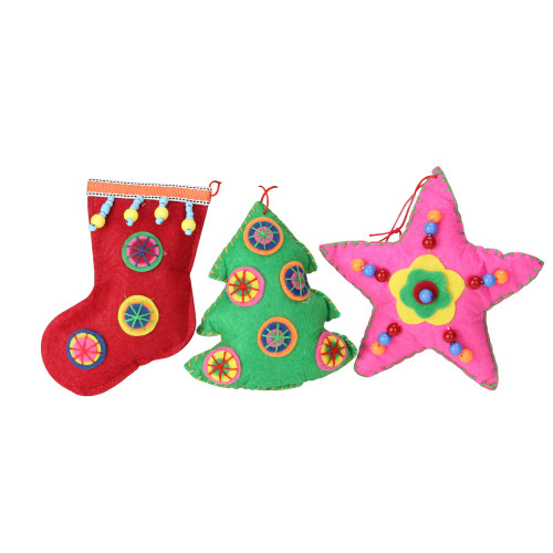 """Set of 3 Vibrantly Colored Bohemian Plush Star, Tree, and Stocking Christmas Ornaments 5"""" - IMAGE 1"""