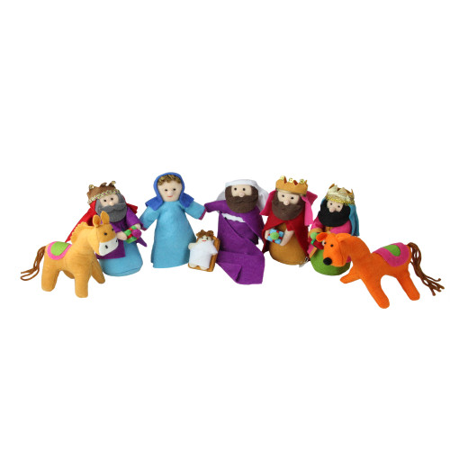 """Pack of 8 Red and Purple Plush Christmas Nativity Figurines 5.5"""" - IMAGE 1"""