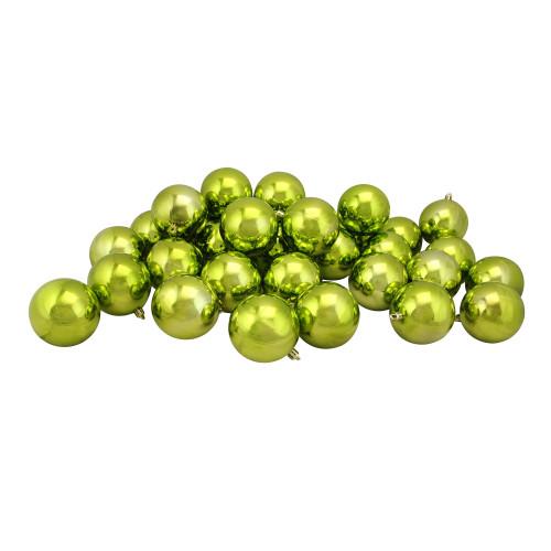 "32ct Kiwi Green Shatterproof Shiny Christmas Ball Ornaments 3.25"" (80mm) - IMAGE 1"