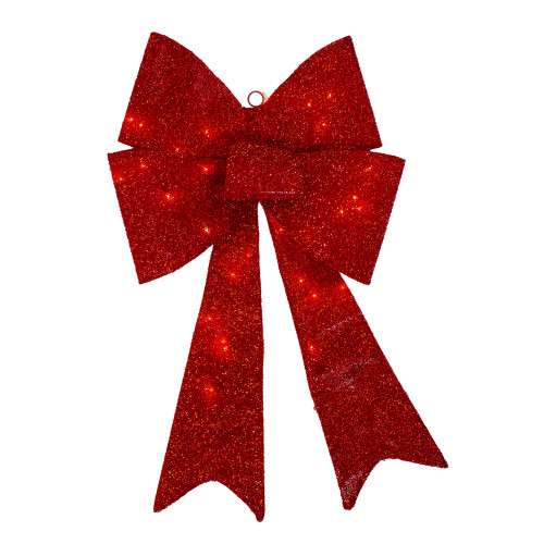 """30"""" LED Lighted Red Tinsel Bow Christmas Decoration - IMAGE 1"""