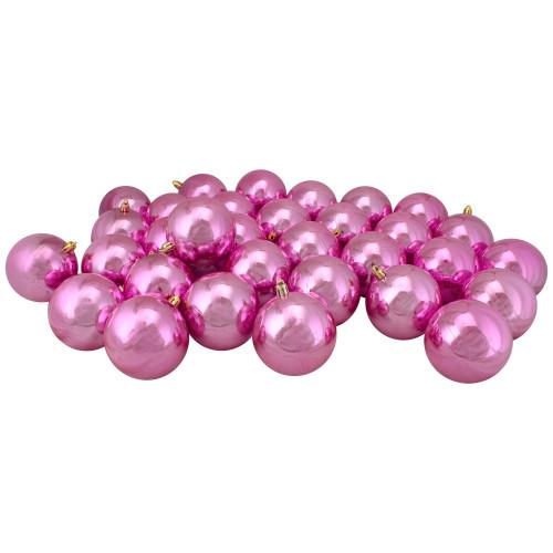 "32ct Bubblegum Pink Shiny Shatterproof Christmas Ball Ornaments 3.25"" (80mm) - IMAGE 1"