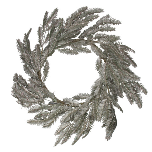 Green and Silver Glittered Pine Artificial Christmas Wreath - 22-Inch, Unlit - IMAGE 1