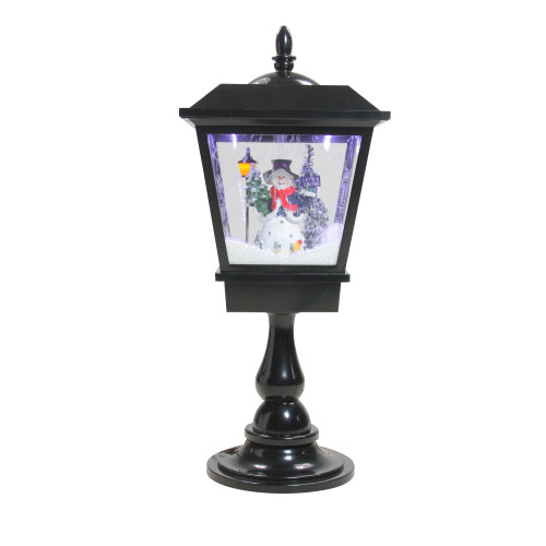 """25.25"""" Lighted Musical Snowman Snowing Black Table Top Christmas Street Lamp - IMAGE 1"""