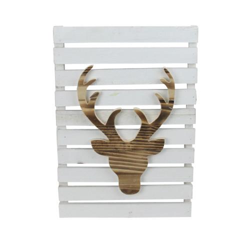"""15.75"""" Wood Deer on White Pallet Inspired Frame Christmas Wall Hanging - IMAGE 1"""