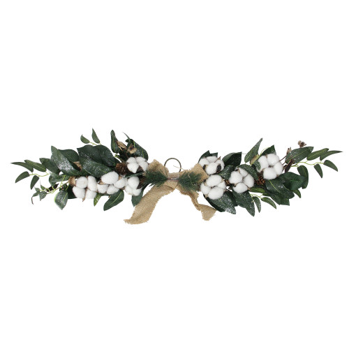 "25"" White Cotton and Foliage Christmas Twig Swag - Unlit - IMAGE 1"
