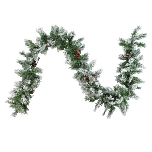 "6.75' x 14"" Flocked Angel Pine with Pinecones Artificial Christmas Garland - Unlit - IMAGE 1"