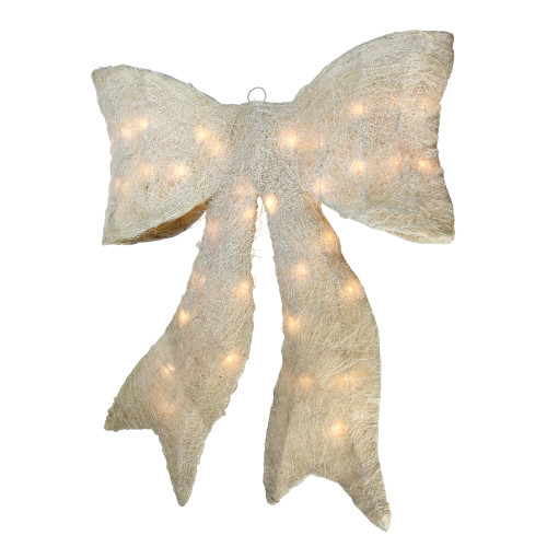 "24"" Lighted Cream White Sparkling Bow Christmas Window Silhouette Decoration - IMAGE 1"