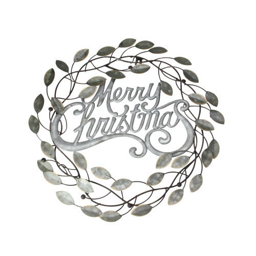 "17.5"" Silver and Bronze ""Merry Christmas"" Wall Hanging Wreath - IMAGE 1"