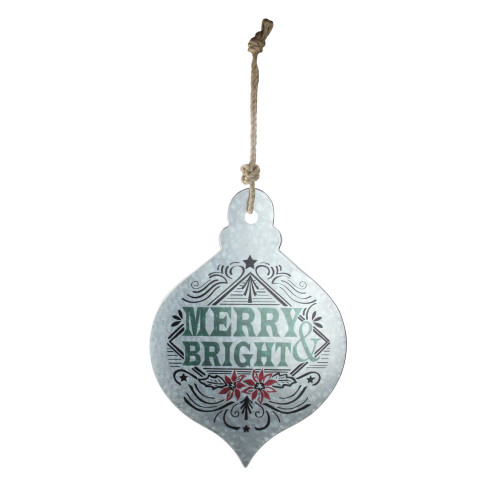 "20"" Silver and Green 'Merry Bright' Onion Christmas Wall Hanging Ornament - IMAGE 1"