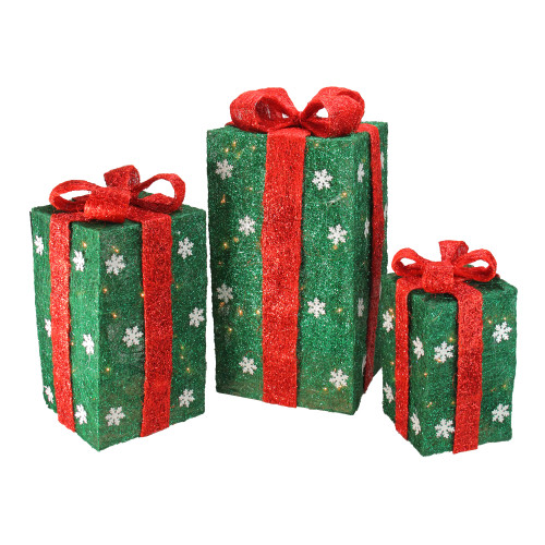 """Set of 3 Pre-Lit Green and Red Gift Boxes Christmas Outdoor Decor 18"""" - IMAGE 1"""