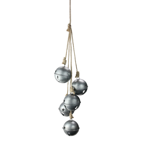 """27.5"""" Silver and Ivory Jingle Bells Christmas Door Swag - IMAGE 1"""