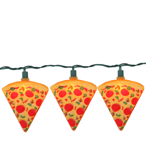 Set of 10 Orange and Red Pizza Slice Garden Patio Christmas Lights - 10' Green Wire - IMAGE 1