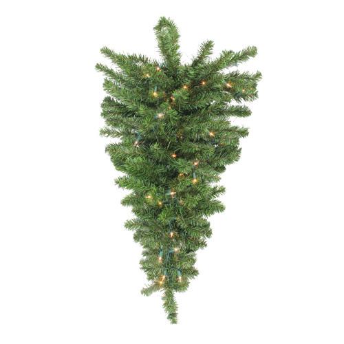 "30"" Pre-Lit Canadian Pine Artificial Christmas Teardrop Door Swag - Clear Lights - IMAGE 1"