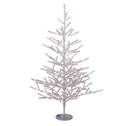 3' Pre-Lit LED Silver Tinsel Twig Artificial Christmas Tree - Clear Lights - IMAGE 1