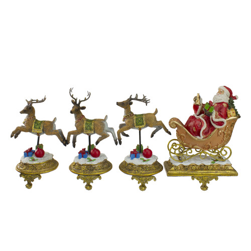 "Set of 4 Santa and Reindeer Christmas Stocking Holders 9.5"" - IMAGE 1"