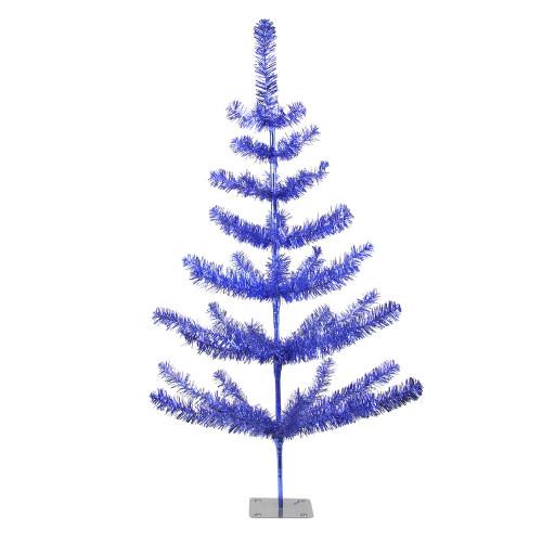 3' Medium Blue Tinsel Twig Pine Artificial Christmas Tree - Unlit - IMAGE 1