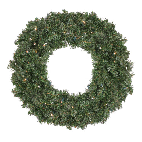 Pre Lit LED Canadian Pine Artificial Christmas Wreath - 24 inch, Clear Lights - IMAGE 1