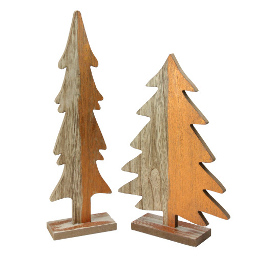 """Set of 2 Gray and Brown Wood Trees with Metallic Paint Christmas Figurine 14"""" - IMAGE 1"""