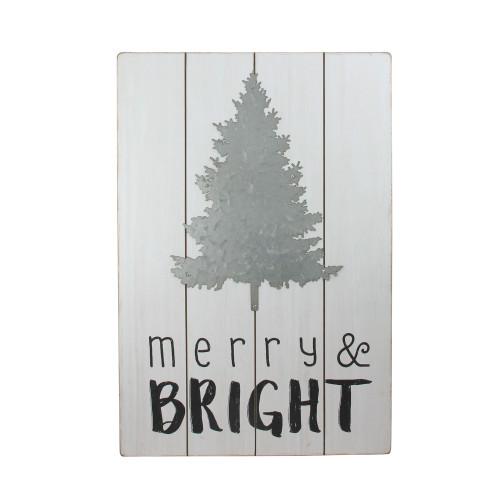 """20"""" Gray and Black Rectangular Christmas Wall Hanging - IMAGE 1"""