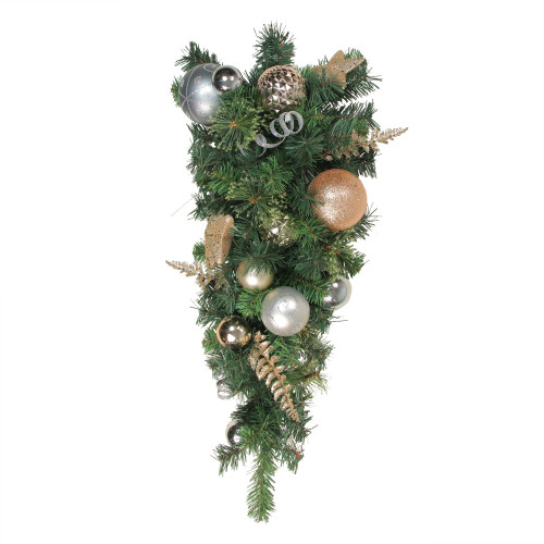 32 Green Rose Gold Ball Ornament Pine Artificial Christmas Teardrop Swag Unlit Christmas Central