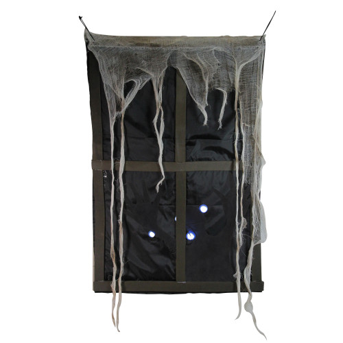 """41"""" Pre-Lit Black and Gray Ghostly Window with Tattered Curtain Halloween Decor - IMAGE 1"""