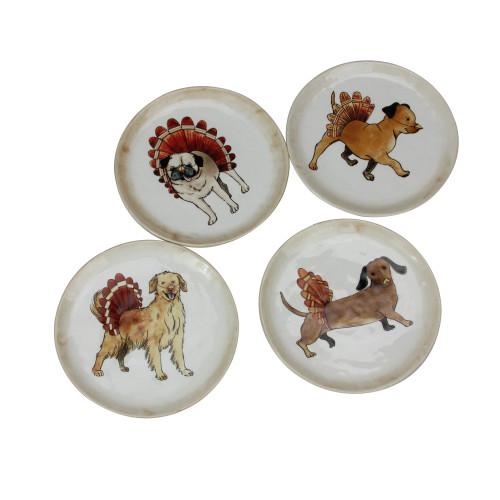 "Set of 4 Ivory Autumn Thanksgiving Puppy Dog Snack Plates 5"" - IMAGE 1"