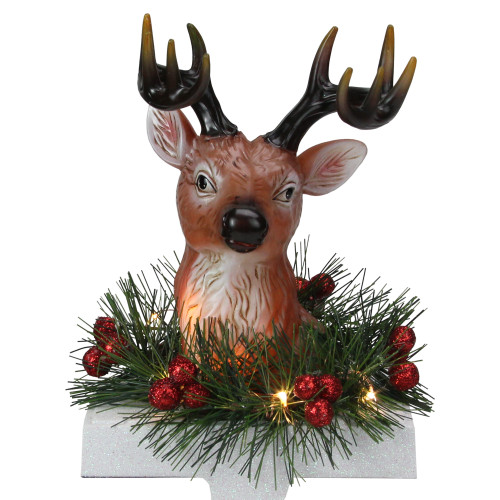 "8"" LED Lighted Reindeer and Holly Berry Christmas Stocking Holder - IMAGE 1"