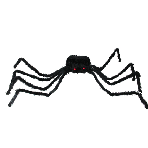 """44"""" Pre-Lit Black Spider with Red Eyes Halloween Decoration - IMAGE 1"""