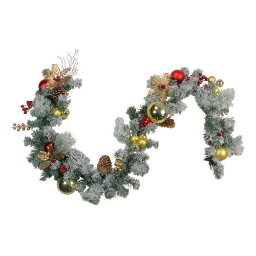 6 'x 12' Pre-Decorated Flocked Artificial Christmas Garland - Unlit - IMAGE 1