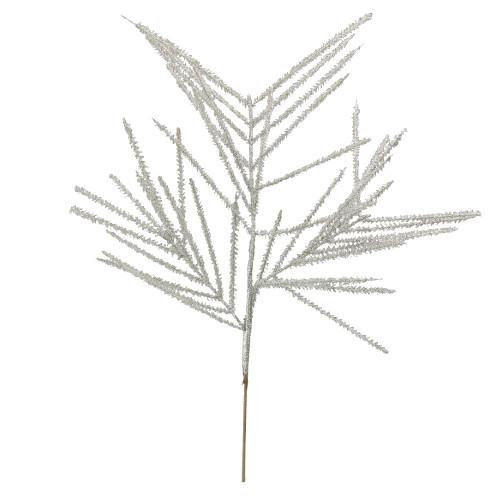 "27"" White Glittered Wispy Wheat Artificial Christmas Spray - IMAGE 1"