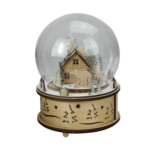 "8"" LED Animated and Musical Woodland Bear Christmas Dome Tabletop Decoration - IMAGE 1"