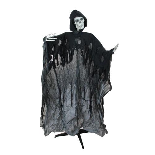 "60"" Pre-Lit Black Musical Skeleton Ghost Reaper Standing Halloween Decor - IMAGE 1"