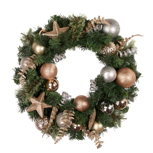Pine and Ball Green Artificial Christmas Wreath - 24-Inch, Unlit - IMAGE 1